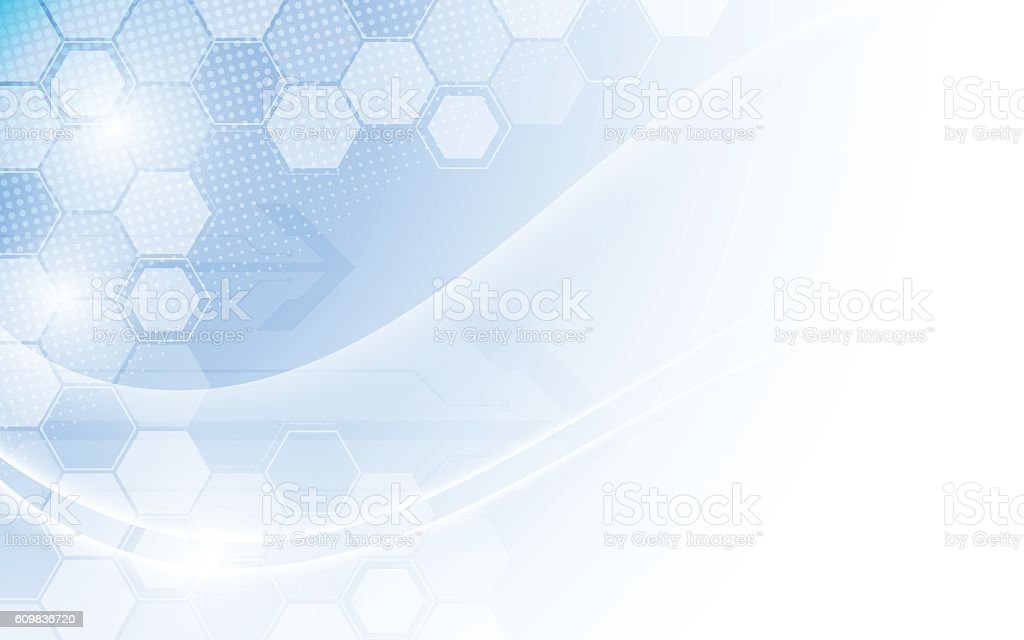 hexagon structure and smooth wave technology concept background vector art illustration