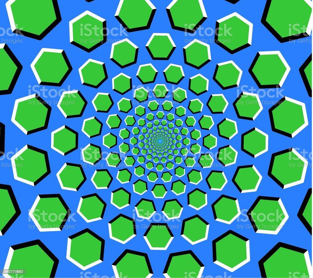Hexagon tunnel optical illusion vector art illustration