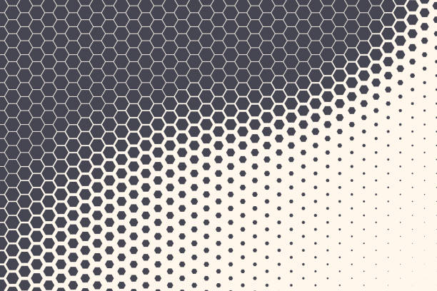 Hexagon Vector Abstract Technology Background Hexagon Shapes Vector Abstract Geometric Technology Retrowave Sci-Fi Texture Isolated on Light Background. Halftone Hex Retro Simple Pattern. Minimal 80s Style Dynamic Tech Wallpaper hexagon stock illustrations
