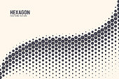 Hexagon Shapes Vector Abstract Geometric Technology Oscillation Wave Isolated on Light Background. Halftone Hex Retro Simple Pattern. Minimal 80s Style Dynamic Tech Wallpaper