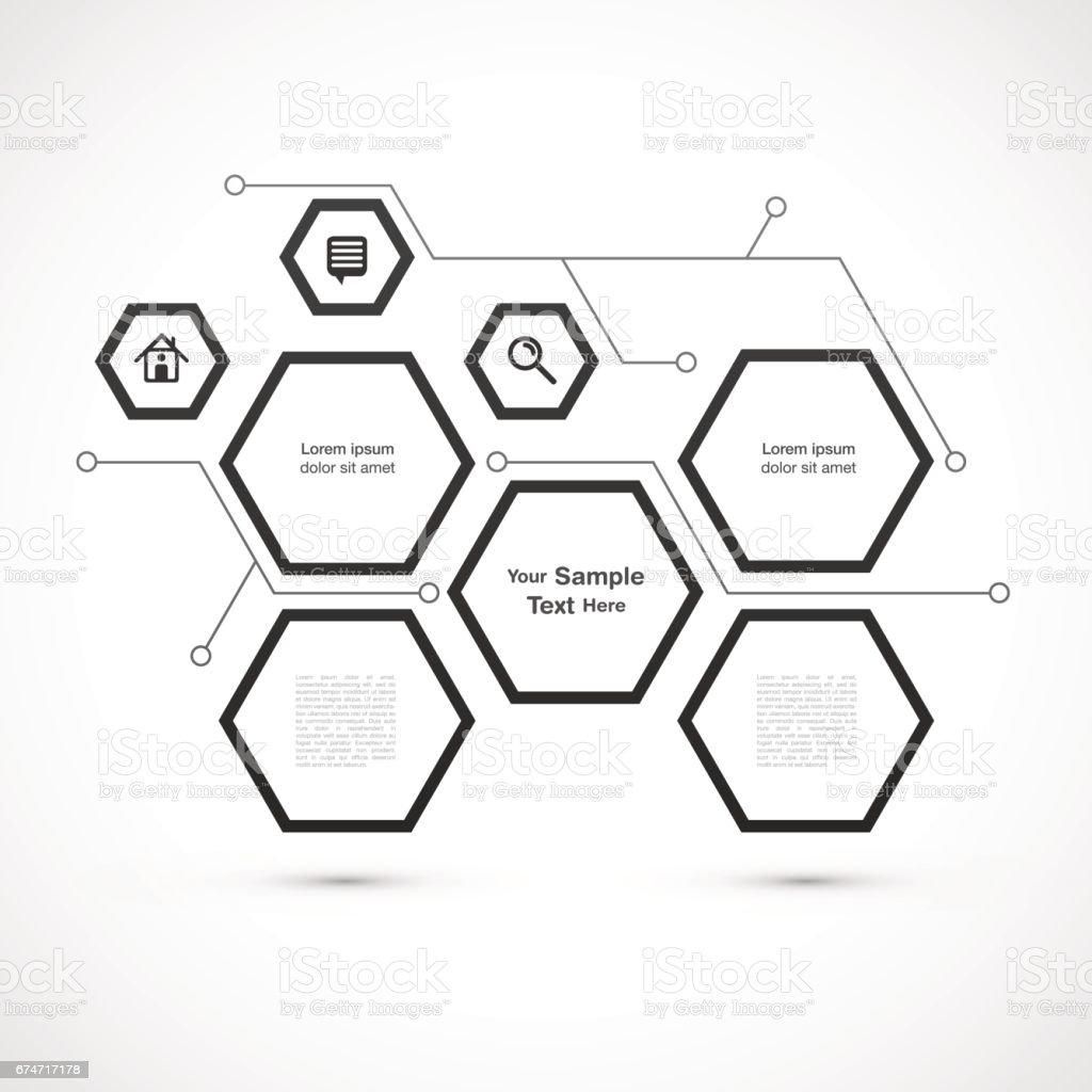 Hexagon web deisng vector art illustration