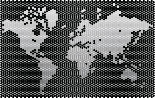 Hexagon worldmap (3300 cells)