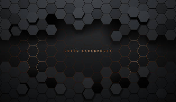 Hexagonal abstract metal background with light Hexagonal abstract metal background with light in vector hexagon stock illustrations