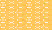 Hexagonal cell grid with bees seamless pattern.  Honeycomb fashion geometric design. Graphic style for wallpaper, wrapping, fabric, apparel, print production. Eps 10 vector.