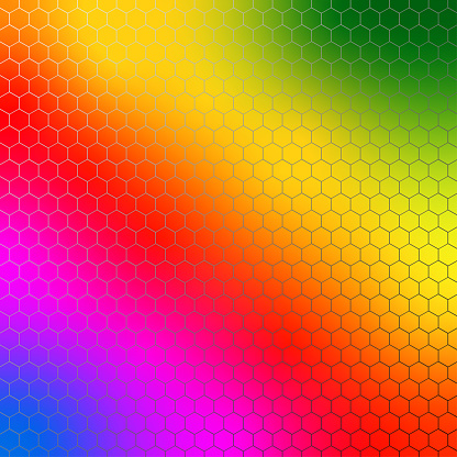 Hexagonal colored bright background