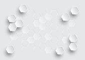 Hexagonal geometric abstract background, creative minimalistic design. Vector illustration concept for molecule, molecular structure, genetic, chemical compounds, chemistry, medicine, science, technology and for futuristic business presentation.