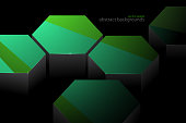 Hexagonal green color shape scene vector abstract wallpaper on a black background.Illustration is an eps10 file and contains transparency effects