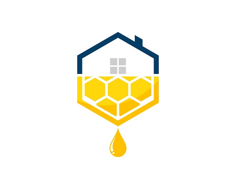 Hexagonal house shape with abstract bee hive above