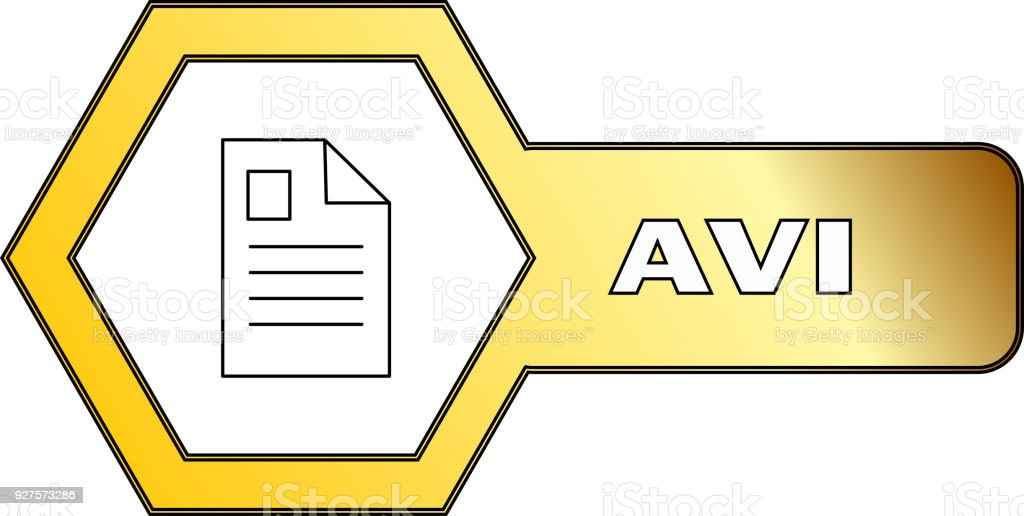 Hexagonal icon for AVI files - vector vector art illustration