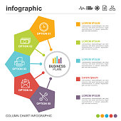 istock Hexagonal infographic with business icons 5 options 1255409142