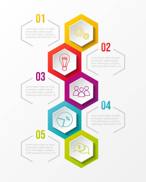 hexagonal infographic with colourful business icons. vector. - klawisz option stock illustrations