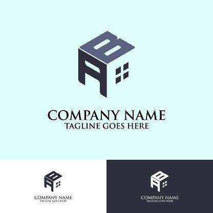 Hexagonal letter AB logo design vector, good for real estate company brand