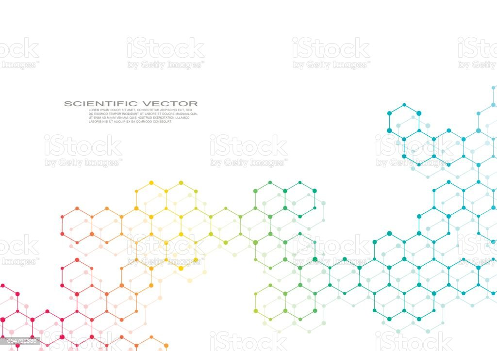 Hexagonal molecule. Molecular structure. Genetic and chemical compounds. Chemistry, medicine, science and technology concept. Geometric abstract background. Atom, DNA and neurons vector hexagonal molecule molecular structure genetic and chemical compounds chemistry medicine science and technology concept geometric abstract background atom dna and neurons vector - immagini vettoriali stock e altre immagini di astratto royalty-free