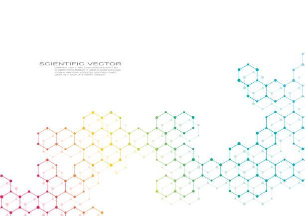 Sechskant-Molekül. Molekulare Struktur. Genetischen und chemischen Verbindungen. Chemie, Medizin, Wissenschaft und Technologie-Konzept. Geometrischen abstrakten Hintergrund. Atom, DNA und Neuronen Vektor – Vektorgrafik