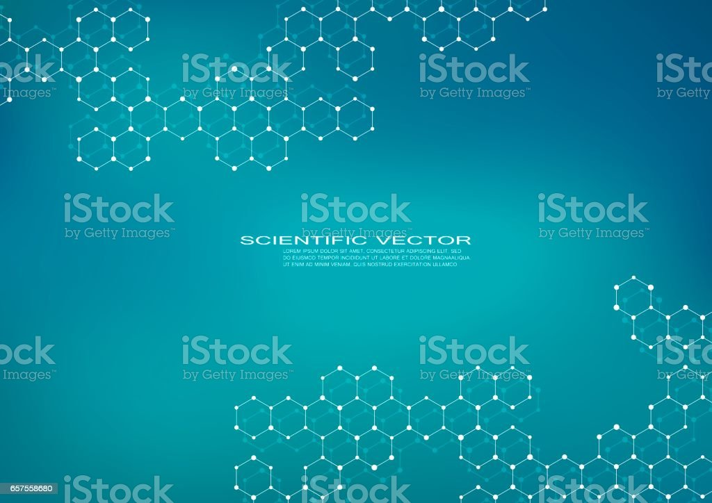 Hexagonal molecule. Molecular structure. Genetic and chemical compounds. Chemistry, medicine, science and technology concept. Geometric abstract background. Atom, DNA and neurons vector vector art illustration