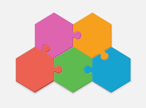 Five pieces of a hexagon puzzle. Hexagonal mosaic infographics.