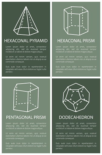 Hexagonal Pyramid and Prism, Dodecahedron Drawings