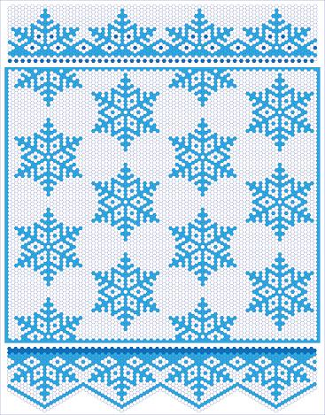 Hexagonal seamless ornament and snowflakes
