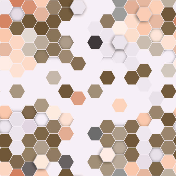 sechseck nahtlose muster.   braun hintergrund sich wiederholenden geometrischen - gartendekorationen stock-grafiken, -clipart, -cartoons und -symbole