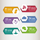 Geometric concept infographic elements, icons include connection, speed bubbles, share,cloud, transfer, wireless, chat.