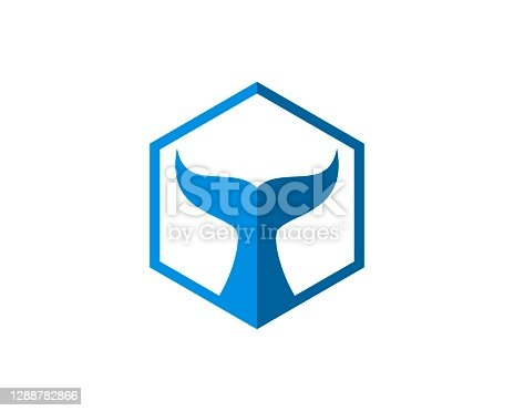 istock Hexagonal shape with whale tail inside 1288782866