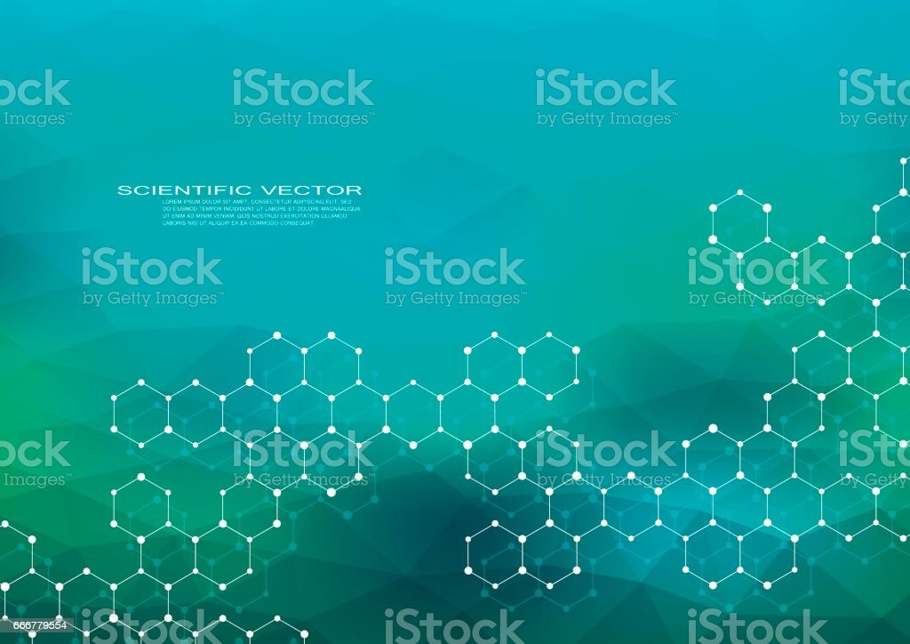 Hexagonal structure molecule dna of neurons system genetic and chemical compounds medical or scientific background for banner or flyer vector illustration vector art illustration