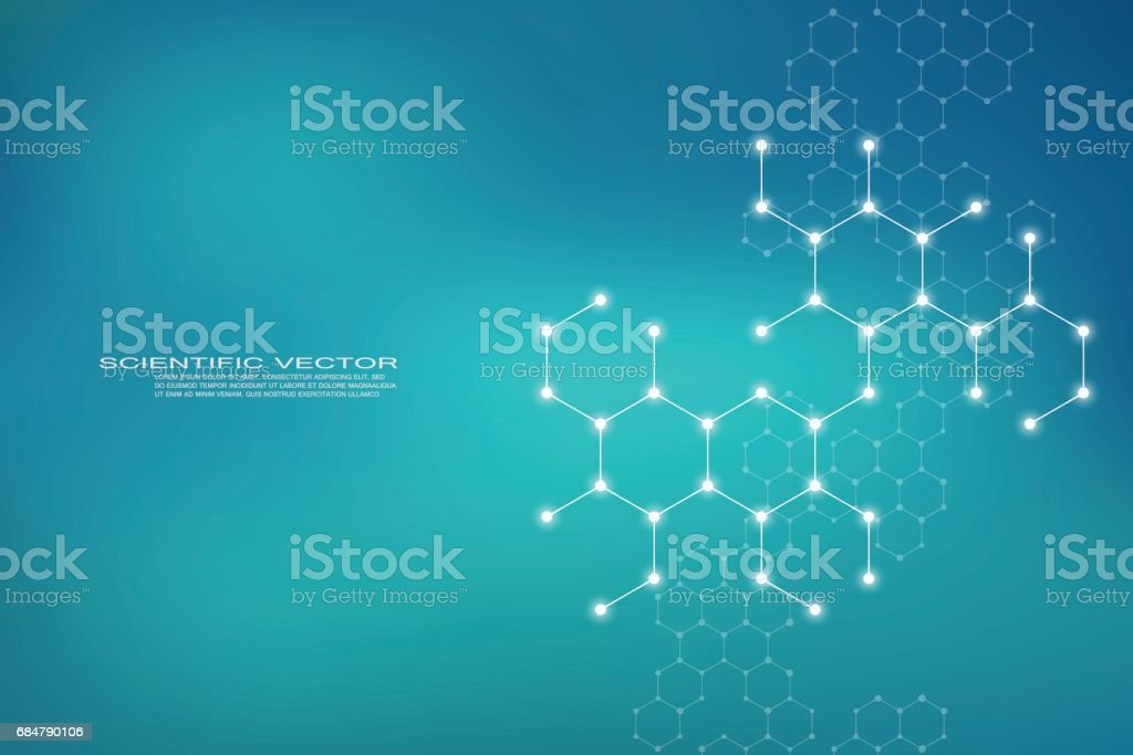 Hexagonal structure molecule dna of neurons system, genetic and chemical compounds, medical or scientific background for banner or flyer, vector illustration - illustrazione arte vettoriale