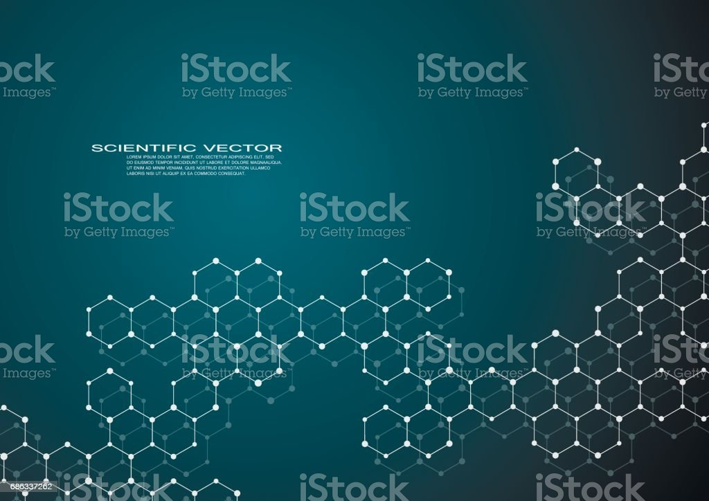 Hexagonal structure molecule dna of neurons system, genetic and chemical compounds, medical or scientific background for banner or flyer, vector illustration vector art illustration