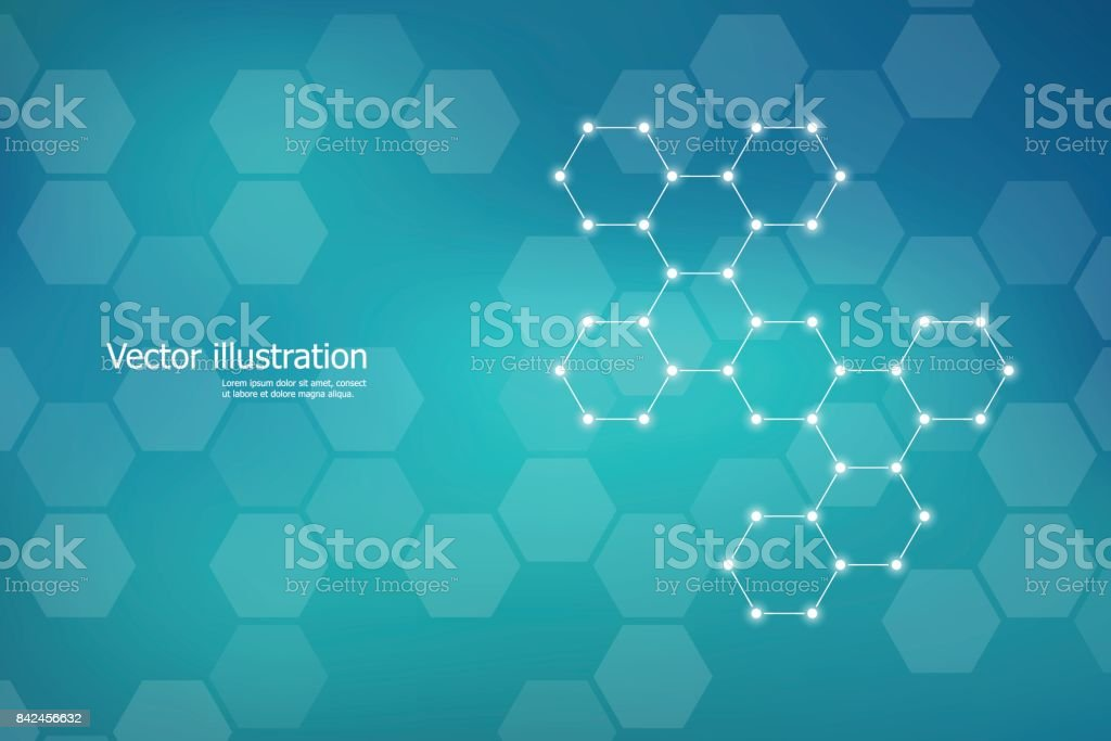 Hexagonal structure molecule dna of neurons system, genetic and chemical compounds. Vector illustration - Royalty-free Abstract stock vector