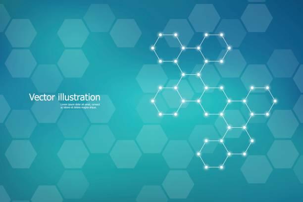 ilustraciones, imágenes clip art, dibujos animados e iconos de stock de molécula de estructura hexagonal adn del sistema de las neuronas, compuestos químicos y genéticos. ilustración de vector - química