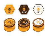 Hexagonal template honey labels In color variants. Presentation on the jar