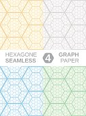 Hexagone Graph Paper. 4 seamless backgrounds.