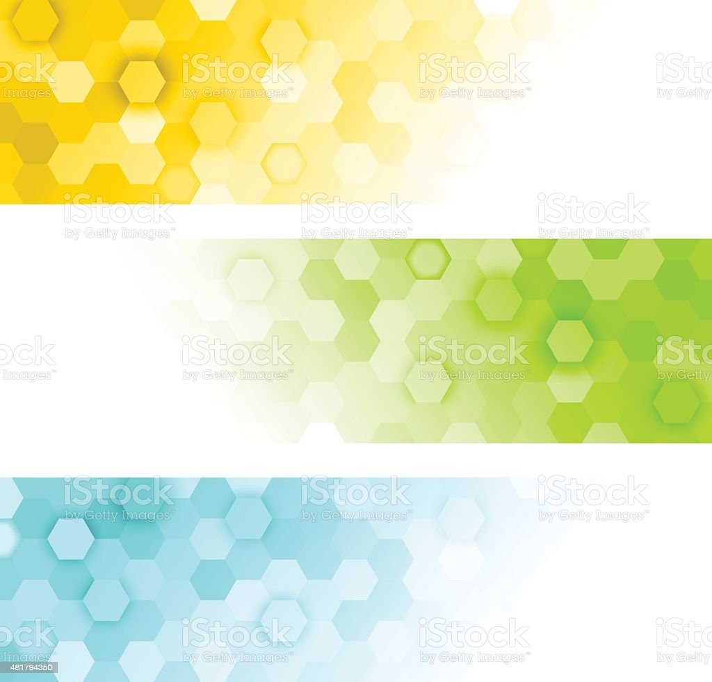 hexagons banners vector art illustration