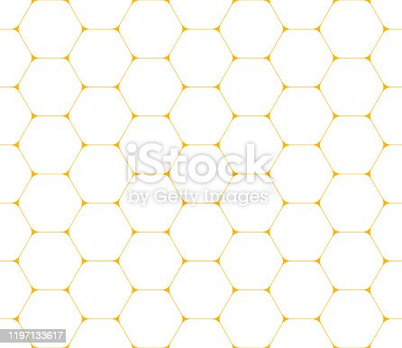 Modern seamless pattern of thin golden yellow hexagons on white background. Geometric mosaic backdrop. Vector illustration