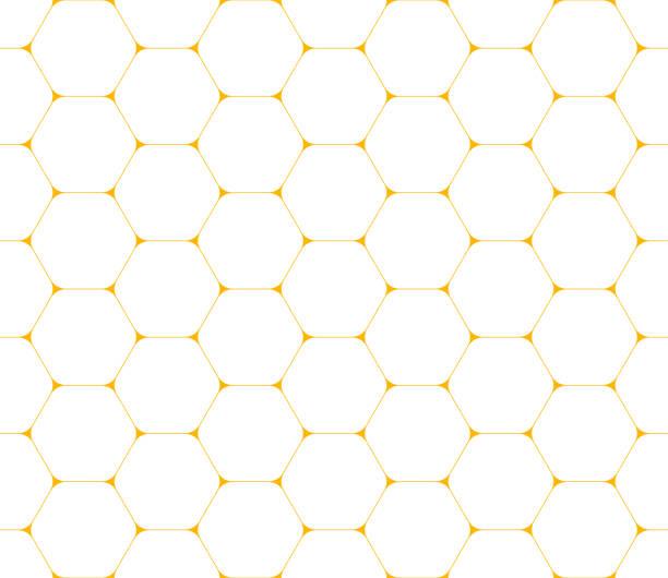 Hexagons seamless pattern Modern seamless pattern of thin golden yellow hexagons on white background. Geometric mosaic backdrop. Vector illustration honeycomb animal creation stock illustrations