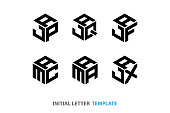 hexagon construction geometry. modern geometry icon. three-letter hexagon symbol vector illustrations. six designs black color on white background