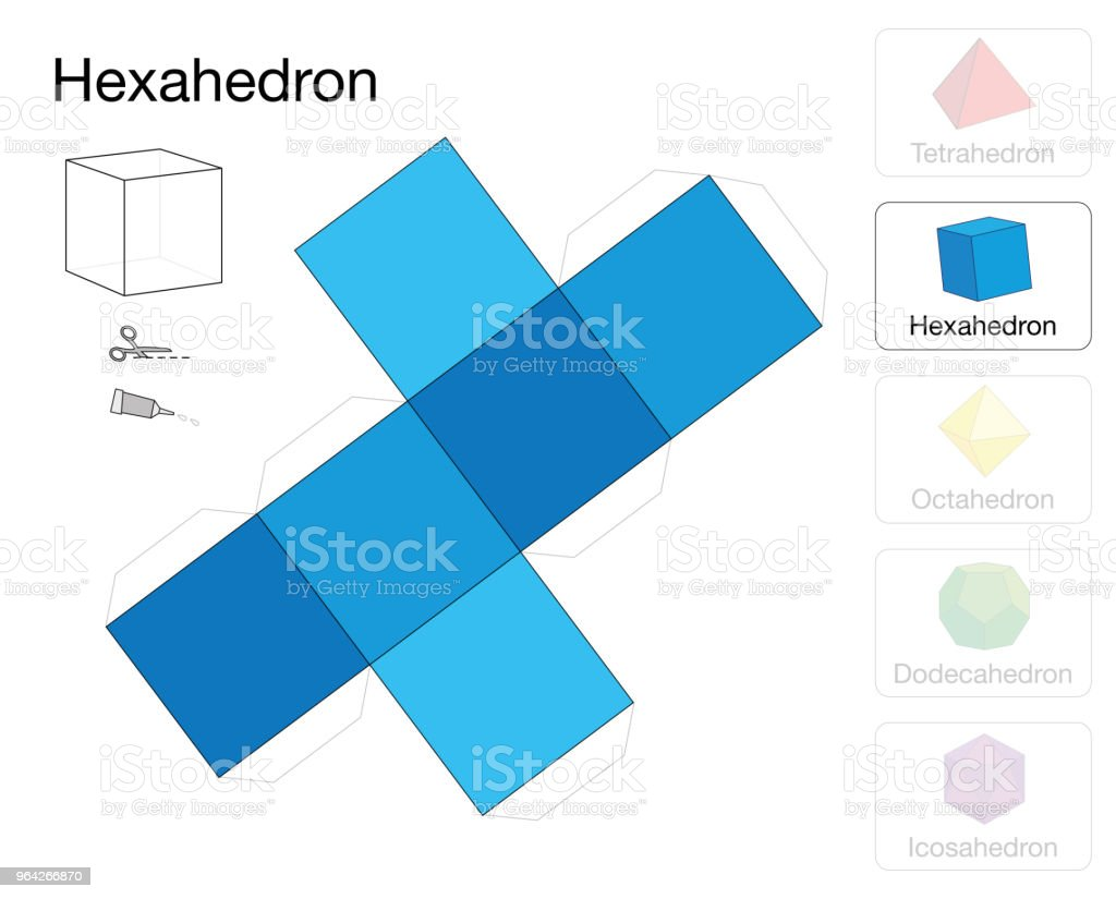 Hexahedron Platonic Solid Template Paper Model Of A Cube One Of Five ...