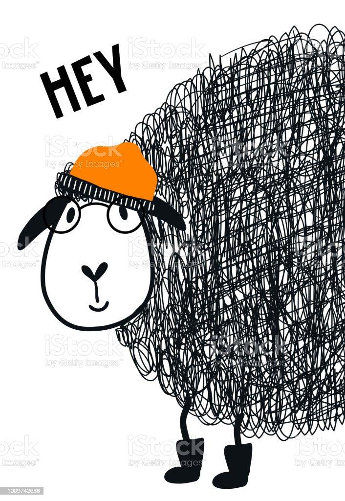 Hey Süße Hand Gezeichnete Kindergarten Plakat Mit Coolen Schaf Tier