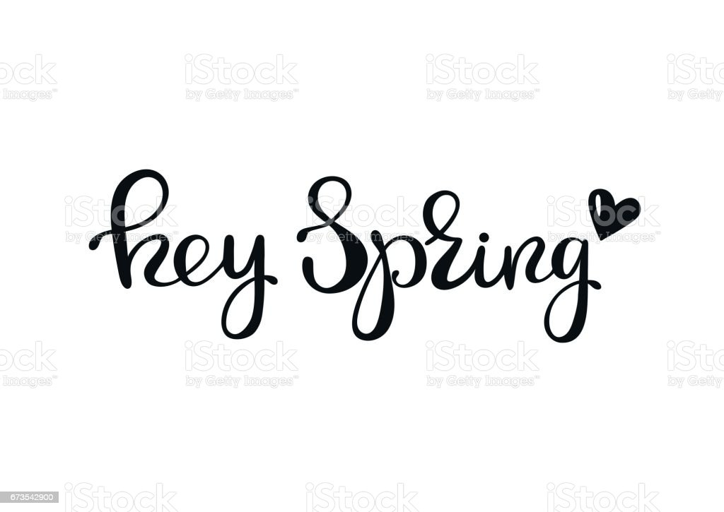 Hey spring - lettering design royalty-free hey spring lettering design stock vector art & more images of art
