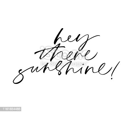 Hey there sunshine cute handwritten cursive black lettering. Positive vector quote calligraphy