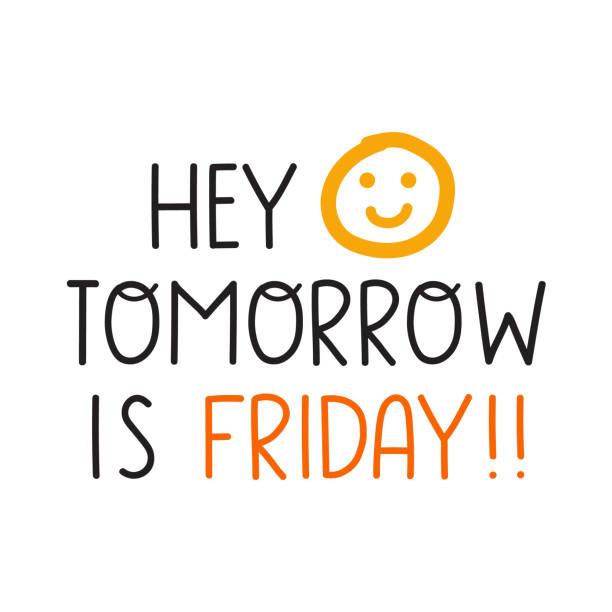 bildbanksillustrationer, clip art samt tecknat material och ikoner med hej imorgon är det fredag. - happy driver