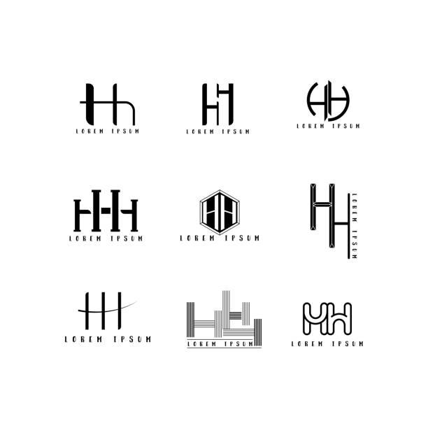 Hh 아이콘 벡터, 디자인 편지 크리에이 티브 글꼴 설정입니다. 벡터 아트 일러스트