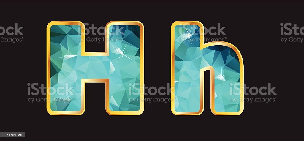 Hh with Gold and Teal vector art illustration