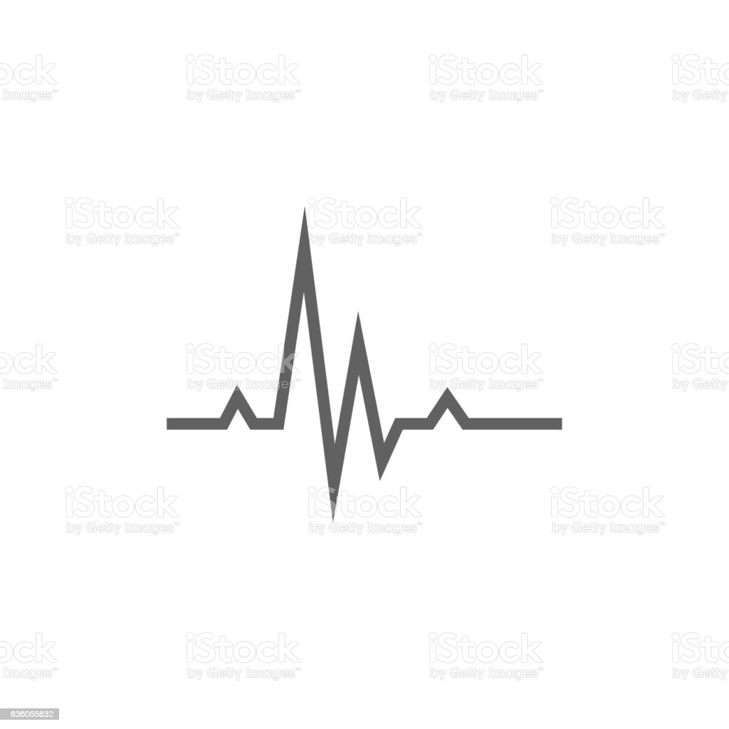 Hheart beat cardiogram line icon vector art illustration