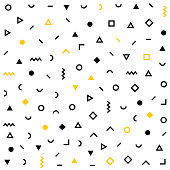 Vector hipster pattern with black and white geometric forms. Line, square, triangle, circle shape seamless . Retro 80s-90s pattern