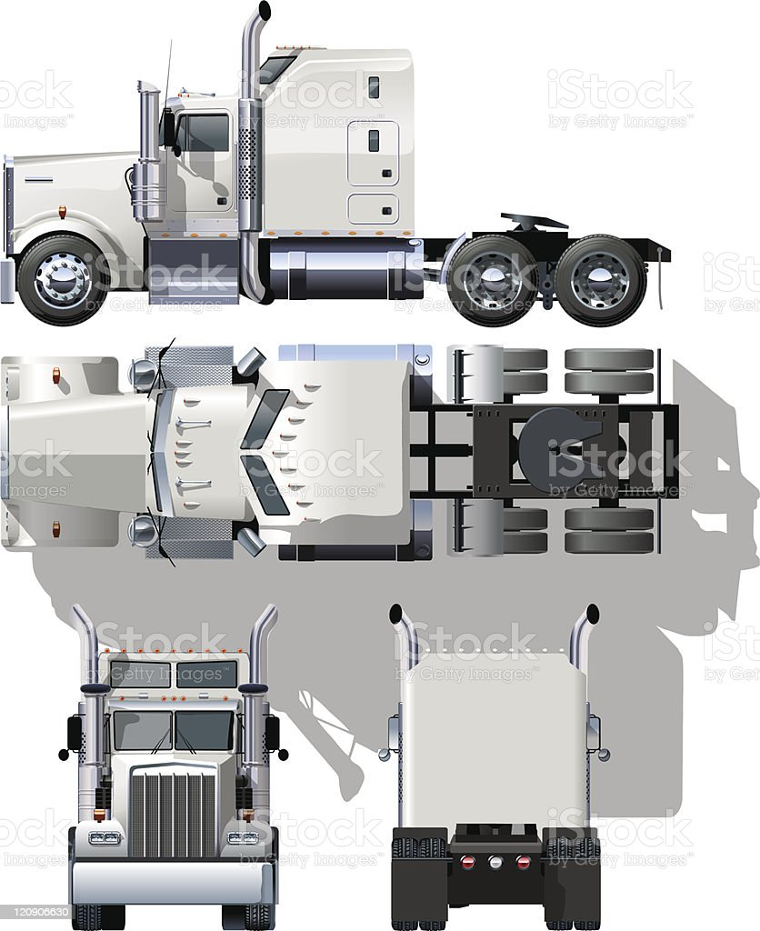 Hi detailed semi truck, frontal, back, top, side projections vector art illustration