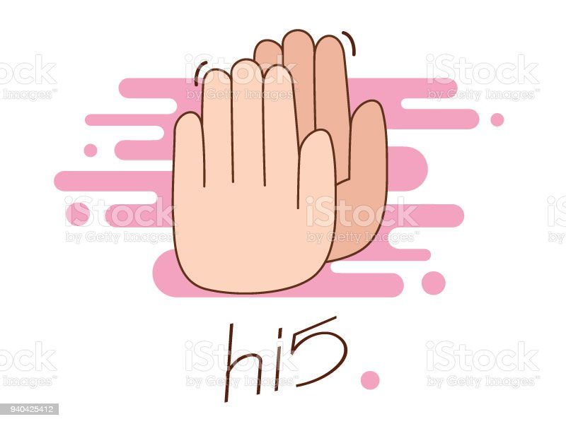 hi five illustration two hands stock vector art more images of