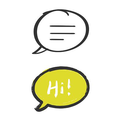 Hi, Hello Speech Bubble Hand Drawn Icon Vector Design.