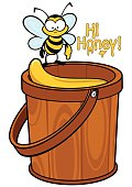 Cute cartoon character bee standing on a bucket full of honey. Text in the form of dripping honey says 'Hi Honey'.