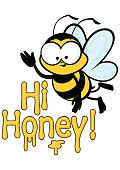 Cute bee cartoon character flying. Text in the form of dripping honey says 'Hi Honey'.